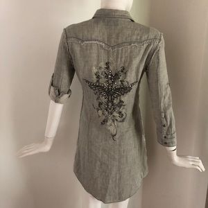 Miss Me : Embellished pearl snap shirt dress Grey